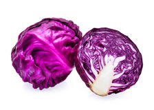 Fresh purple cabbage with slice isolated on white background Stock Image