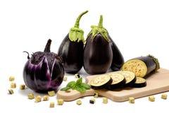 Fresh purple eggplant on white background. Royalty Free Stock Photography
