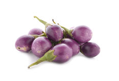 Fresh purple eggplants on white Stock Photo