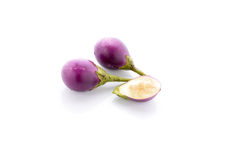 Fresh purple eggplants on white Royalty Free Stock Photos