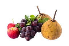 Fresh purple grapes, apples and Santol fruit isolated Stock Images