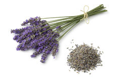 Fresh purple lavender and dried flowers. On white background Stock Photos