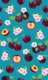 Fresh purple plum seamless pattern with pink cherry blossom on green background. Vector illustration stock illustration