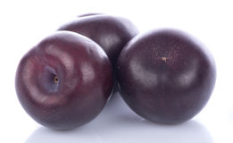 Fresh purple plums. Isolated on white Stock Photos