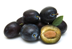 Fresh purple plums Stock Photos