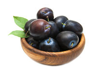 Fresh purple plums Stock Photo