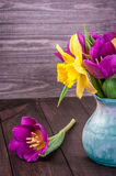 Fresh purple tulip, yellow flowers close up on wooden background Bouquet snowdrops on wooden background. Spring flowers. Fresh purple tulip, yellow flowers close Royalty Free Stock Image