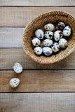 Fresh quail eggs in a basket. Food Stock Photo
