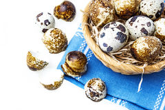 Fresh quail eggs in a basket. Quail eggs in a basket - white background Stock Image