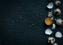 Fresh quail eggs food background. Fresh Quail eggs and shell on dark moody background Royalty Free Stock Image