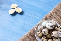 Fresh quail eggs. Food concept Stock Photography