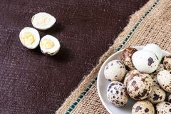 Fresh quail eggs. Food concept Stock Photo