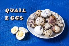 Fresh quail eggs. Food concept Stock Images