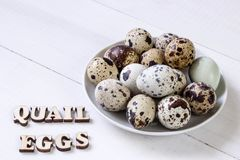 Fresh quail eggs. Food concept Royalty Free Stock Photo