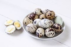 Fresh quail eggs. Food concept Royalty Free Stock Photos