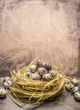 Fresh quail eggs in the nest border place for text  wooden rustic background top view close up Royalty Free Stock Photography
