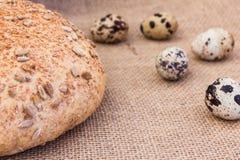 Fresh quail eggs with rye bread. On sackcloth Royalty Free Stock Photo