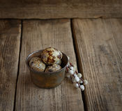 Fresh quail eggs and willow twigs on a wooden background Stock Photography