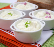 Fresh quark. Some fresh quark with onions and spices Stock Photography