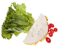 Fresh Quesadilla. Quesadilla with Fresh Lettuce and Tomatoes Isolated on White with a Clipping Path Stock Photos