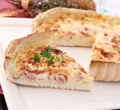 Fresh quiche with cheese and bacon Stock Image