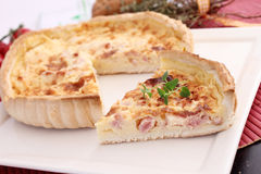 Fresh quiche with cheese and bacon Stock Images