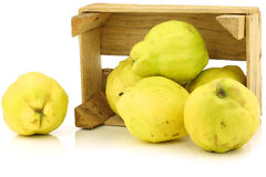 Fresh quince fruits  Cydonia oblonga. In a wooden crate on a white background Royalty Free Stock Photos