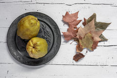 Fresh quinces. On wooden table with napkin Stock Photography