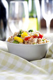Fresh Quinoa Salad. Close up of fresh quinoa salad with bell peppers and chickpeas Royalty Free Stock Photography