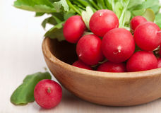 Fresh radish. In wooden bowl Stock Image