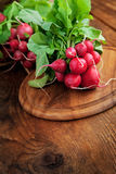 Fresh radish. Vegetable background. Fresh radish on wood Stock Photo
