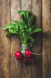 Fresh radish bunch over wooden background. Top view, vertical composition Royalty Free Stock Photos