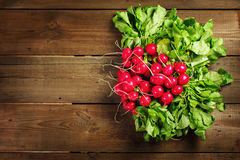 Fresh radish bunch on rustic wooden background. Fresh big radish bunch on rustic wooden background. Close-up, copy space, view from above Royalty Free Stock Photo