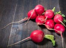 Fresh radish. Bunch of fresh radish on vintage wooden table Stock Image