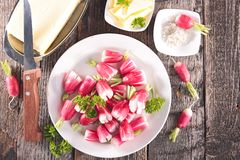 Fresh radish and butter. On wood background Royalty Free Stock Image