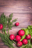 Fresh radish. On dark boards Royalty Free Stock Photos