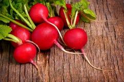Fresh radish on dark wooden background Stock Images