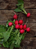 Fresh radish flat lay. Top view royalty free stock photo