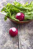 Fresh radish. And green salad on wooden table Stock Images