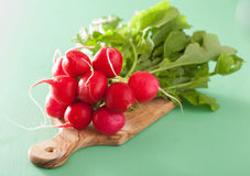 Fresh radish with leaves over green background.  Stock Photography