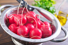 Fresh radish. In metal bowl Royalty Free Stock Images