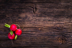 Fresh radish on old vintage wooden table. Fresh vegetable Royalty Free Stock Photography