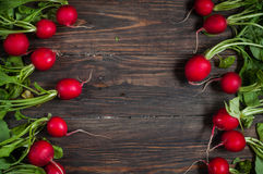 Fresh radish on old wooden table. Radish background. Rustic Style Royalty Free Stock Images