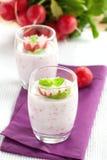 Fresh radish quark. In a glass Stock Photos