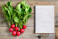 Fresh radish and recipe book Stock Images