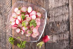 Fresh radish salad. Top view Stock Photos