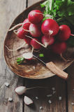 Fresh radish and salt. On the wooden table, selective focus and toned image Royalty Free Stock Photos