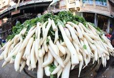 Fresh radish selling Stock Photo