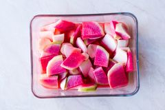 Fresh Radish Slices in Glass Bowl. Fresh Radish Slices Glass Bowl. Organic Food Stock Images