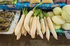 Fresh radish and vegetables on fresh market, thailand. Fresh radish and vegetables on fresh market, thailand Stock Photo